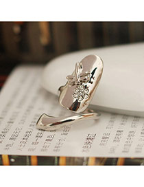 Fashion Silver Color Dragonfly&flower Decorated Simple Design Alloy Korean Rings