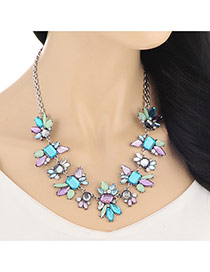 Elegant Multi-color Geometric Shape Diamond Decorated Simple Design Alloy Bib Necklaces