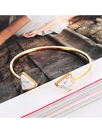 Elegant White Triangle Shape Decorated Opening Design Alloy Fashion Bangles