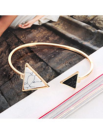 Elegant Gold Color Triangle Shape Decorated Opening Design Alloy Fashion Bangles
