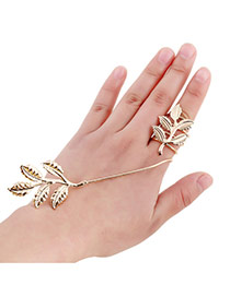 Fashion Gold Color Maple Leaf Decorated Simple Design Alloy Korean Rings