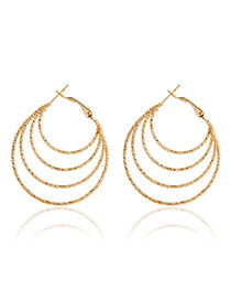 Fashion Gold Color Circle Shape Decorated Multi-layer Design Alloy Korean Earrings