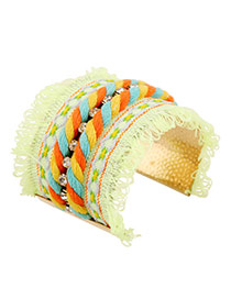 Ethnic Green Hand-woven Tassel Decorated Opening Design Alloy Fashion Bangles