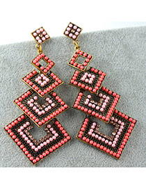 Vintage Pink Square Shape Decorated Multilayer Design Alloy Stud Earrings