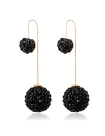 Luxury Black Full Diamond Decorated Ball Shape Design Cz Diamond Korean Earrings