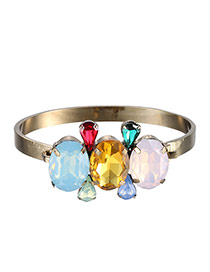 Fashion Multi-color Diamond Decorated Waterdrop Shape Design Alloy Fashion Bangles