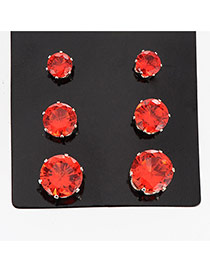 Fashion Red Diamond Decorated Round Shape Design
