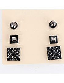 Fashion Black Diamond Decorated Geometric Shape Design