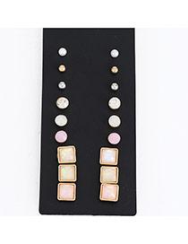 Fashion Multi-color Diamond Decorated Geometric Shape Design (18pcs)