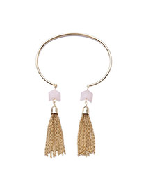 Fashion Gold Color Metal Chains Tassel Pendant Decorated Opening Design