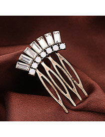 Vintage Gold Color Square Shape Diamond Decorated Hollow Out Design Alloy Hair clip hair claw
