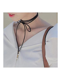 Fashion Black Pearl Decorated Simple Collar Design