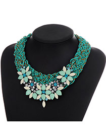Fashion Blue Diamond Decorated Collar Design
