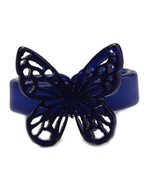 Fashion Loyal Blue Hollow Out Butterfly Decorated Opening Design Acrylic Korean Rings