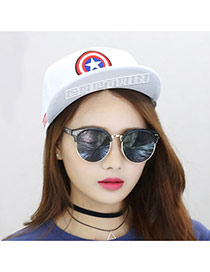 Fashion White Embroidery Star Pattern Decorated Simple Design Canvas Baseball Caps
