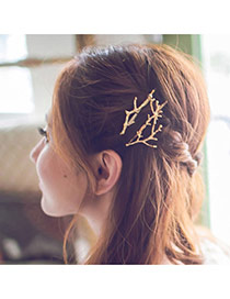 Fashion Gold Color Branch Shape Decorated Simple Design Alloy Hair band hair hoop