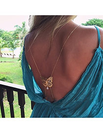 Fashion Gold Color Hollow Out Butterfly Shape Decorated Simple Design Alloy Body Chains