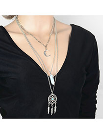 Vintage Silver Color Moon&leaf pendant Decorated Multilayer Design