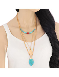 Fashion Light Blue Leaf Pendant Decorated Mutlilayer Design Alloy Bib Necklaces