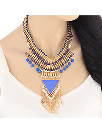 Fashion Blue Triangle Beads Decorated Tassel Pendant Design