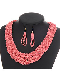 Fashion Pink Pure Color Decorated Hand-woven Collar Design Beads Bib Necklaces