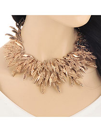 Exaggerated Gold Color Hollow Out Leaf Shape Decorated Collar Design