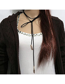 Exaggerated Black Leaf Pendant Decorated Double Layer Design Pu Bib Necklaces