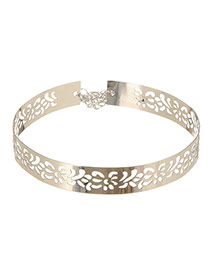 Elegant Silver Color Hollow Out Flower Decorated Simple Design Alloy Wide belts