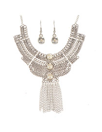 Exaggerated Silver Color Metal Chain Weaving&tassel Decorated Collar Design