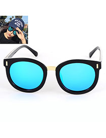 Fashion Blue Round Shape Decorated Simple Design Alloy Women Sunglasses