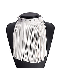 Exaggerated White Long Tassel Pendant Decorated Collar Design Pu Bib Necklaces