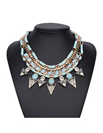 Vintage Light Blue Triangle Pendant Decorated Multilayer Design Alloy Bib Necklaces