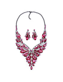 Luxury Plum Red Hollow Out Flower Shape Decorated Short Chain Design