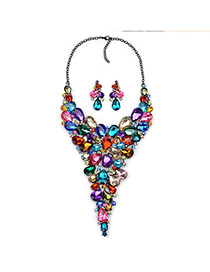 Luxury Multi-color Waterdrop Shape Gemstone Decorated Collar Design