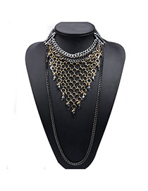 Exaggerated Antique Gold Long Chain&net Shape Pendant Decorated Collar Design Alloy Chokers