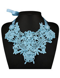 Exaggerated Blue Hollow Out Flower Decoarted Collar Design