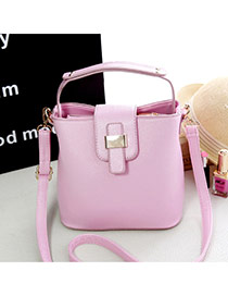 Sweet Pink Pure Color Decorated Metal Buckle Design Pu Shoulder bags