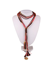 Exaggerate Red Round Shape &tassel Pendant Decorated Multi-layer Design Chain Bib Necklaces