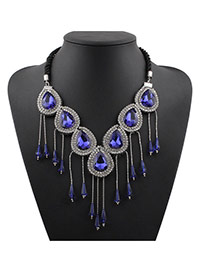 Fashion Blue Water Drop Shape Diamond Decorated Tassel Design Alloy Bib Necklaces