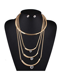 Exaggerate Gold Color Diamond Pendant Decorated Multi-layer Design