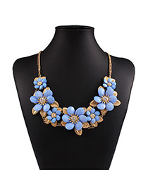 Exaggerated Blue Flower Shape Decorated Short Chain Design Alloy Bib Necklaces