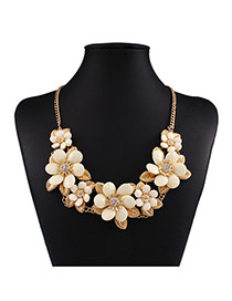 Exaggerated White Flower Shape Decorated Short Chain Design Alloy Bib Necklaces