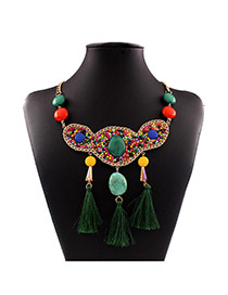 Bohemia Multi-color Beads Weaving&tassel Pendant Decorated Collar Design