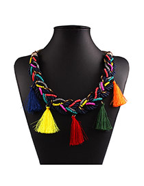 Exaggerated Multi-color Tassel Pendant Decorated Hand-woven Chain Design Measle Bib Necklaces