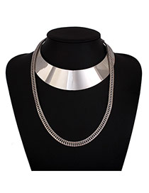 Exaggerated Silver Color Metal Chain Decorated Collar Design Alloy Chokers