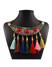 Exaggerated Multi-color Tassel&beads Weaving Pendant Decorated Collar Design Measle Bib Necklaces