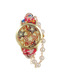 Fashion Plum Red Stars Pattern Decorated Round Case Design