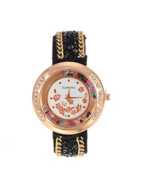 Fashion Black Flower Pattern Decorated Double Chain Design Fabric Ladies Watches