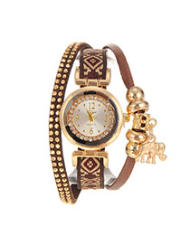 Personalized Coffee Elephant Pendant Decorated Multi-layer Design Fabric Ladies Watches