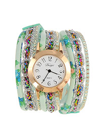 Fashion Green Flower Pattern Decorated Multi-layer Design Pu Ladies Watches